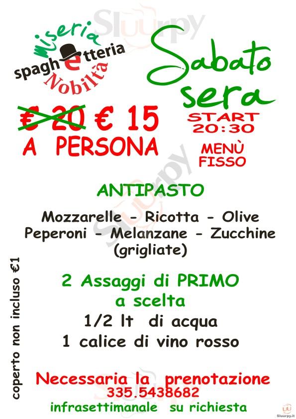 MISERIA E NOBILTA Matera menù 1 pagina
