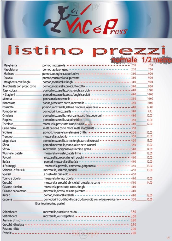 VAC E PRESS Caserta menù 1 pagina