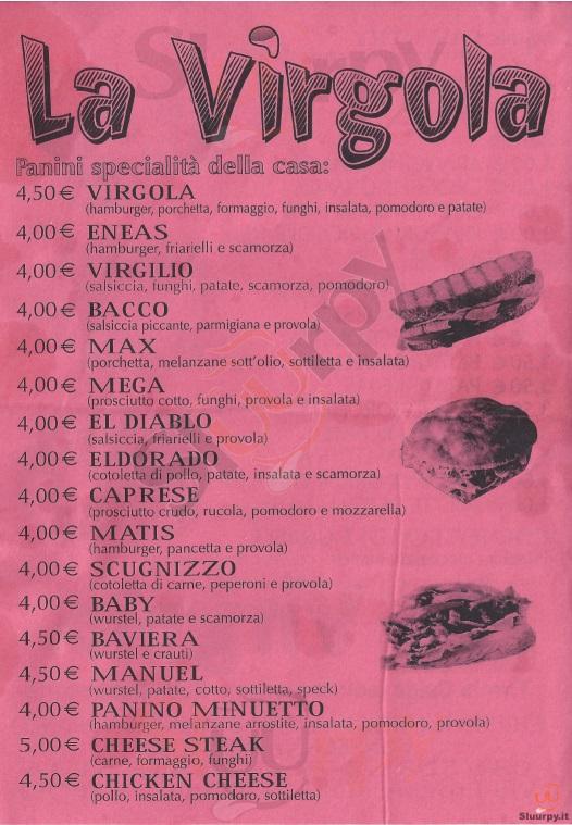 LA VIRGOLA Napoli menù 1 pagina