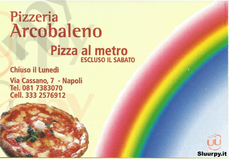ARCOBALENO Napoli menù 1 pagina