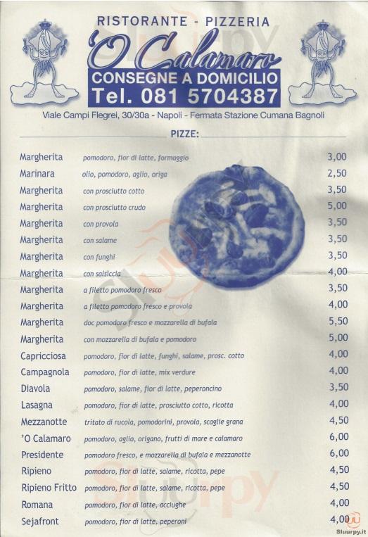 'O Calamaro Napoli menù 1 pagina