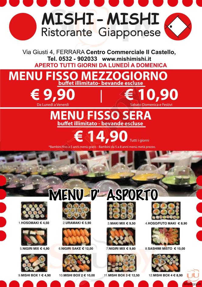 MISHI MISHI - Ferrara Ferrara menù 1 pagina