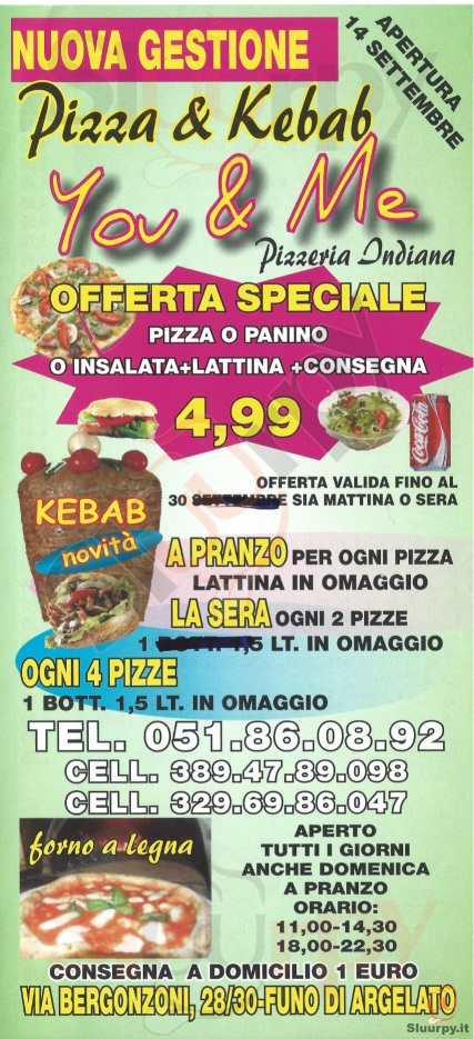 YOU & ME Argelato menù 1 pagina