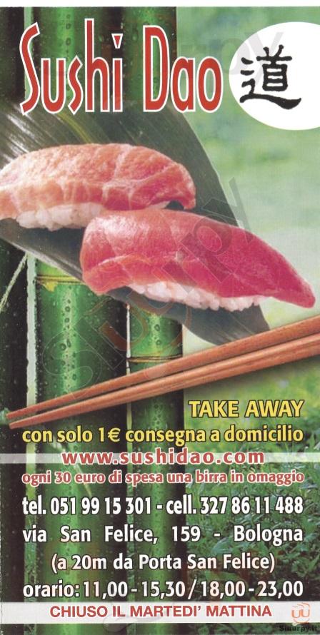 Sushi Dao Bologna menù 1 pagina