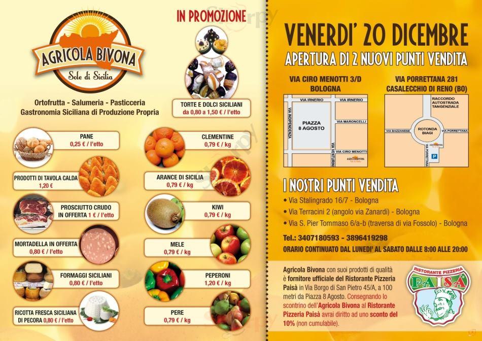 AGRICOLA BIVONA, Via Terracini Bologna menù 1 pagina
