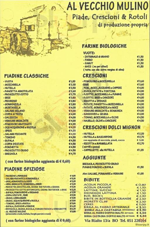 AL VECCHIO MULINO Bologna menù 1 pagina
