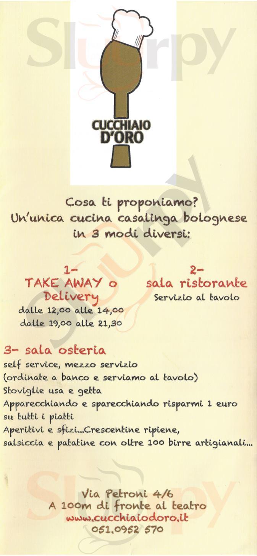 Cucchiaio D'Oro Bologna menù 1 pagina