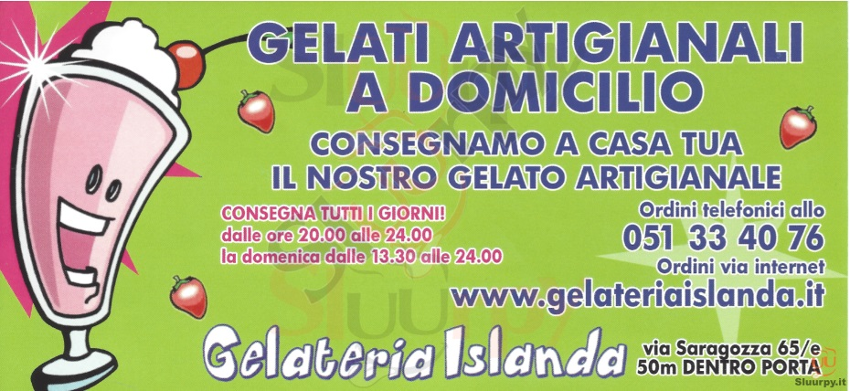 Gelateria Islanda Bologna menù 1 pagina