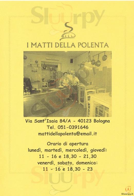 I Matti della Polenta Bologna menù 1 pagina
