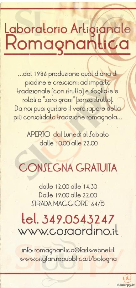 ROMAGNANTICA Bologna menù 1 pagina
