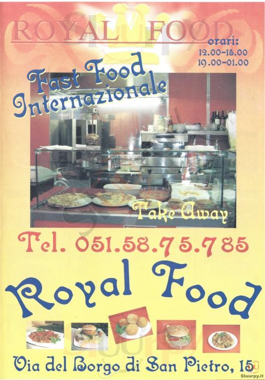 ROYAL FOOD Bologna menù 1 pagina