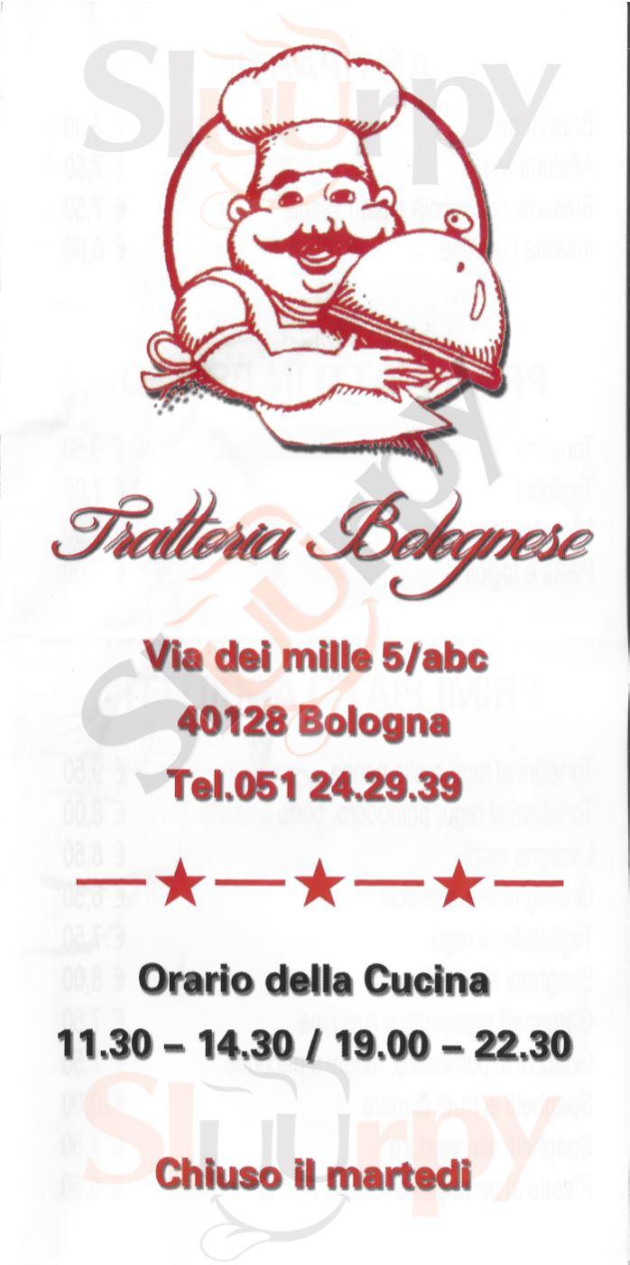 Trattoria Bolognese Bologna menù 1 pagina