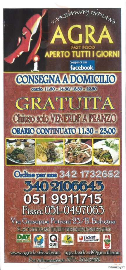 AGRA FAST FOOD Bologna menù 1 pagina