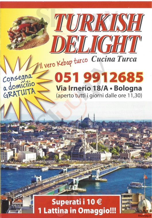 TURKISH DELIGHT Bologna menù 1 pagina