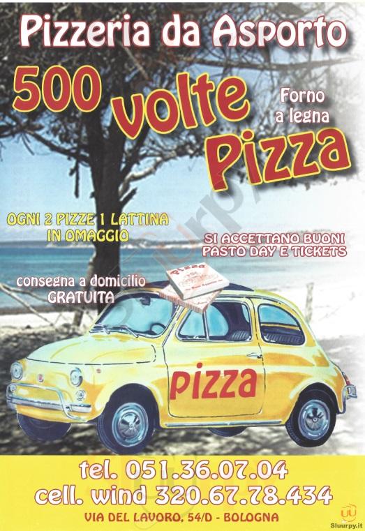 500 Volte Pizza Bologna menù 1 pagina