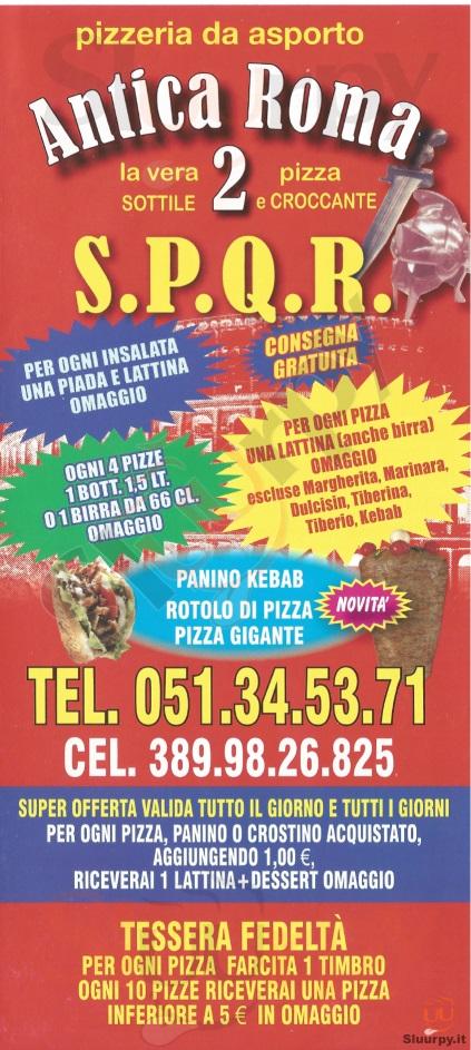 ANTICA ROMA 2 Bologna menù 1 pagina
