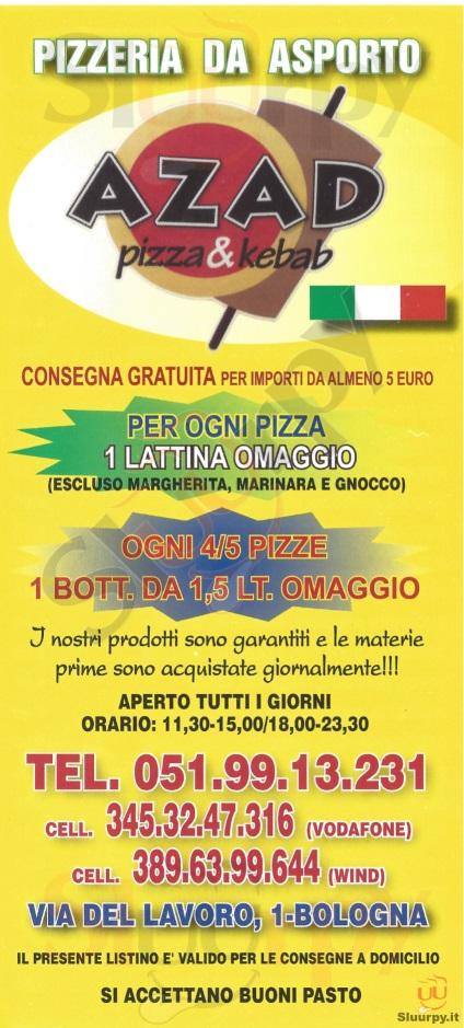 Azad bologna sfoglia il men originale for Il rosso bologna menu