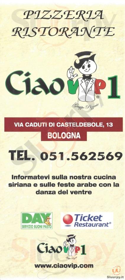 CIAO VIP 1 Bologna menù 1 pagina