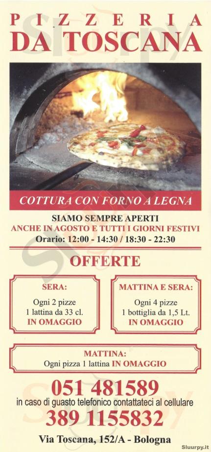 DA TOSCANA Bologna menù 1 pagina