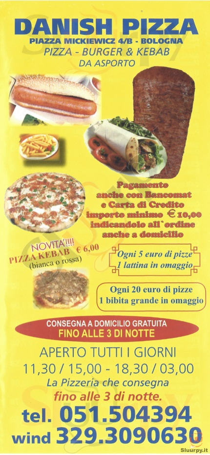 DANISH PIZZA Bologna menù 1 pagina