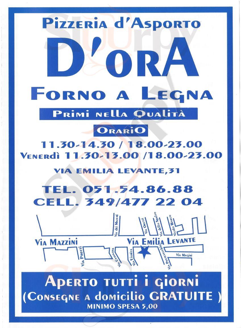 D'ORA Bologna menù 1 pagina