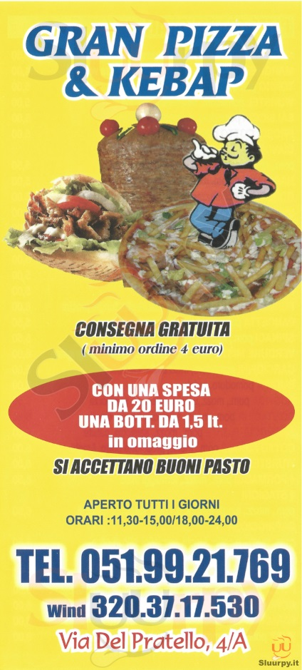 GRAN PIZZA & KEBAP Bologna menù 1 pagina
