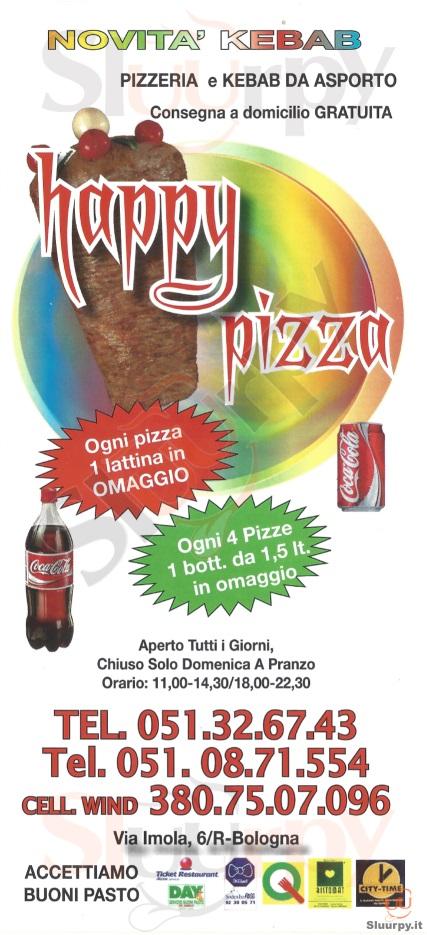 HAPPY PIZZA Bologna menù 1 pagina