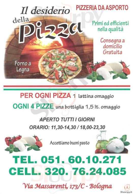 IL DESIDERIO DELLA PIZZA Bologna menù 1 pagina