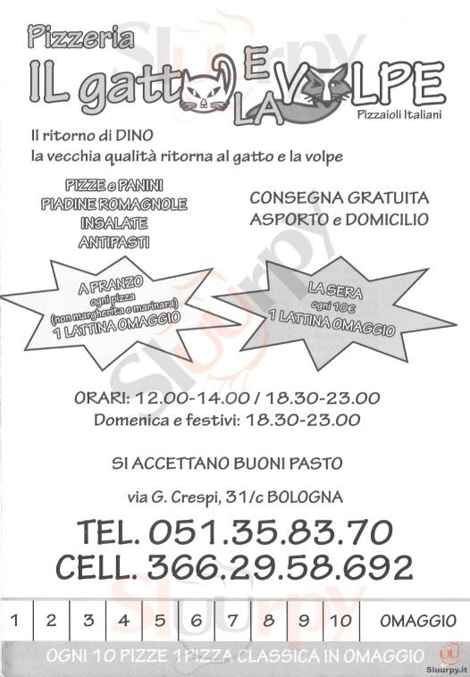Menù Ristorante Il Gatto E La Volpe A Bologna