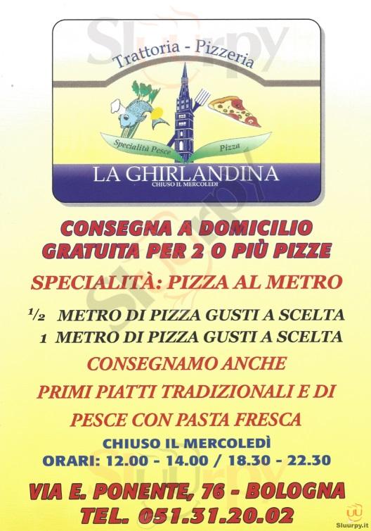 LA GHIRLANDINA Bologna menù 1 pagina
