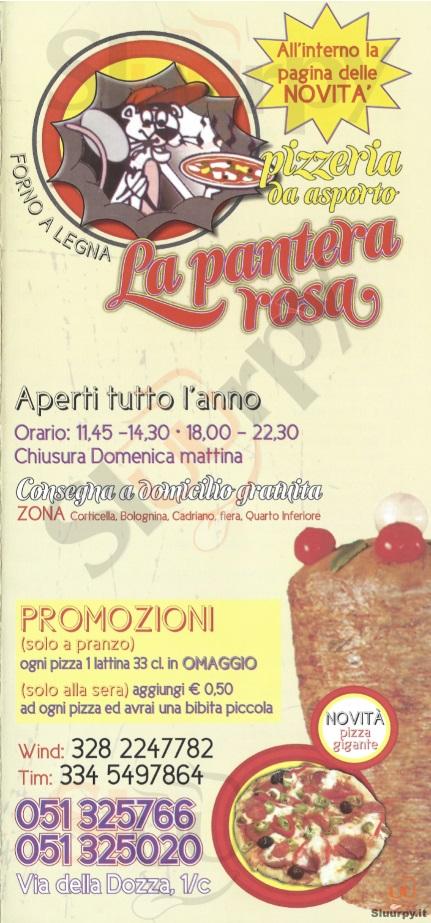 La Pantera Rosa Bologna menù 1 pagina