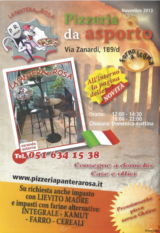 LA PANTERA ROSA, Via Zanardi Bologna menù 1 pagina