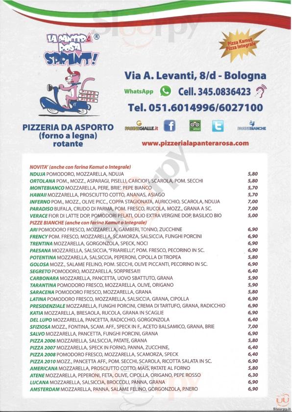 La pantera rosa sprint bologna sfoglia il men originale for Il rosso bologna menu