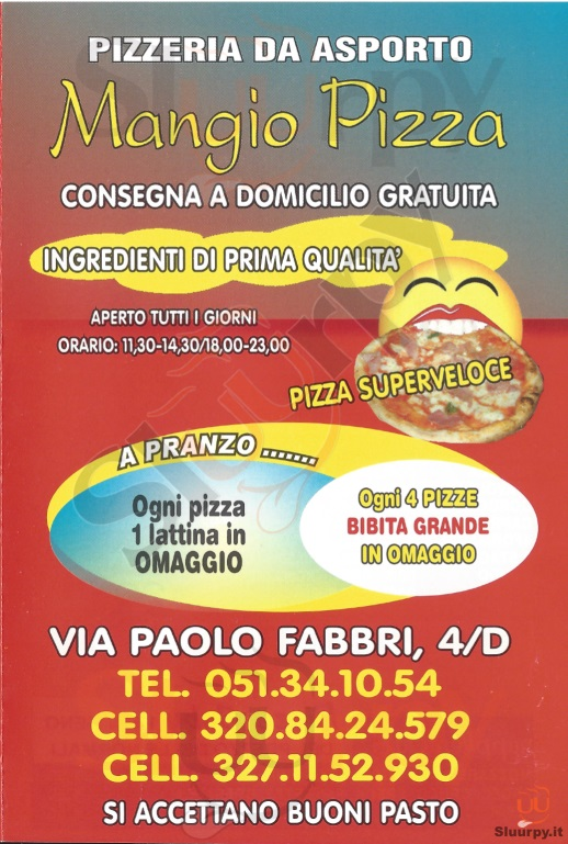 MANGIO PIZZA Bologna menù 1 pagina