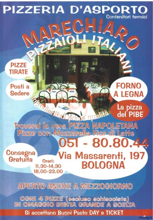 Marechiaro Bologna menù 1 pagina
