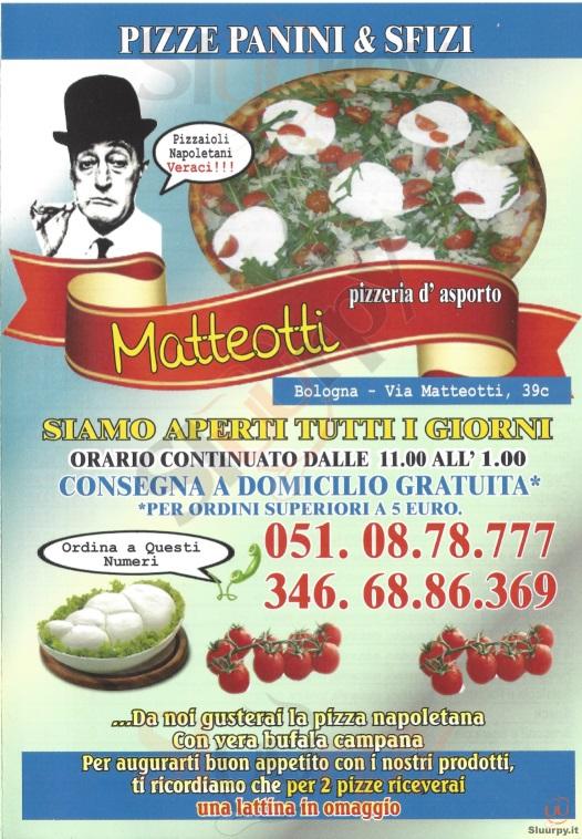 MATTEOTTI Bologna menù 1 pagina