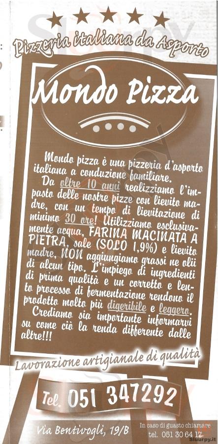 MONDO PIZZA Bologna menù 1 pagina