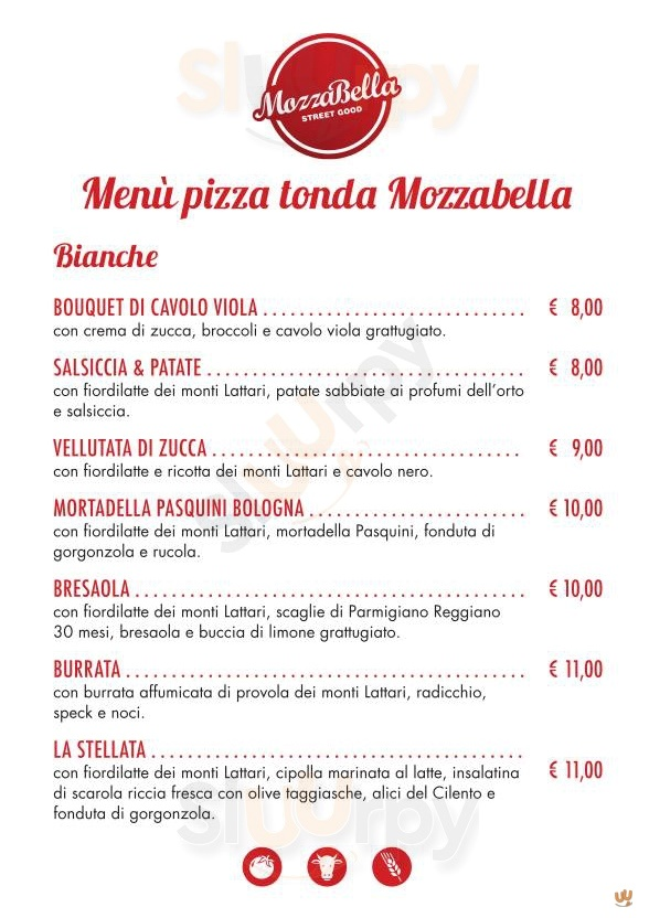 Mozzabella Bologna menù 1 pagina