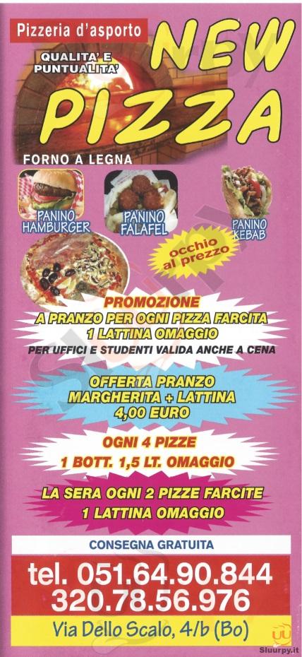 NEW PIZZA Bologna menù 1 pagina