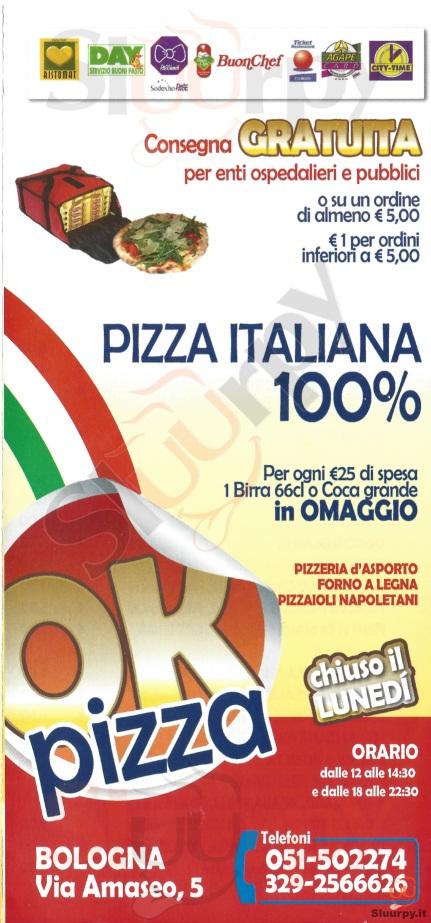 OK PIZZA Bologna menù 1 pagina