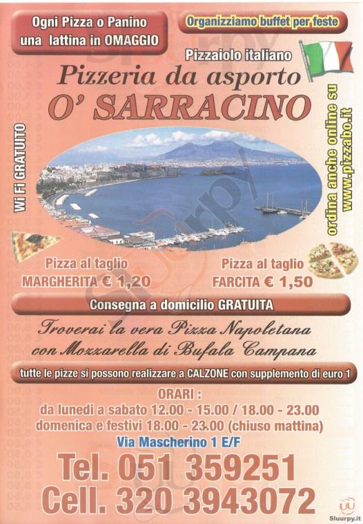 O' SARRACINO Bologna menù 1 pagina