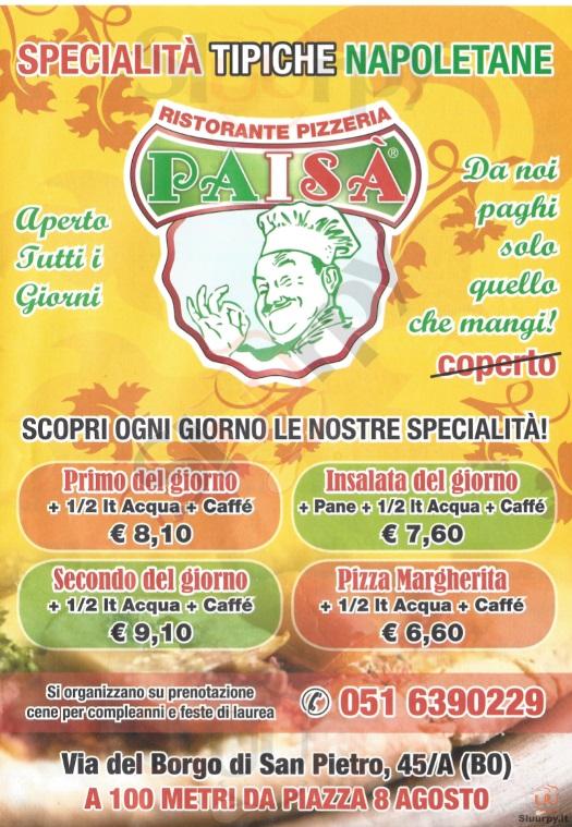 PAISA' Bologna menù 1 pagina