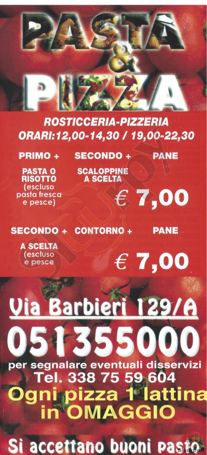 PASTA E PIZZA Bologna menù 1 pagina