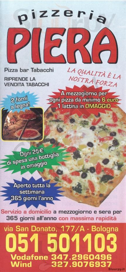 PIERA Bologna menù 1 pagina