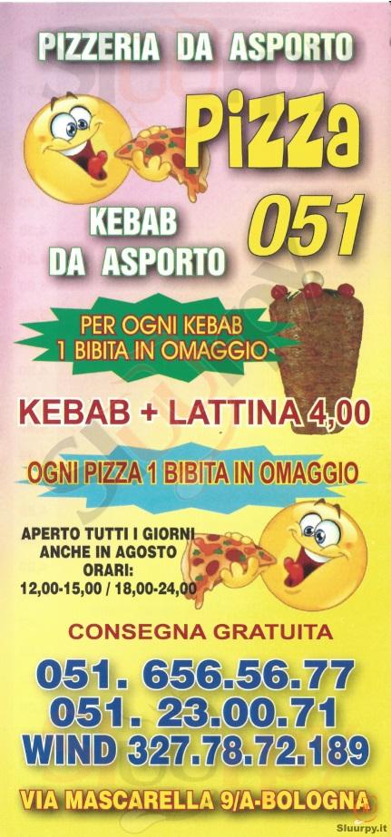 Pizza 051 Bologna menù 1 pagina