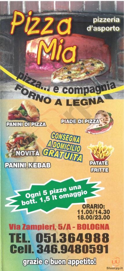 PIZZA MIA Bologna menù 1 pagina