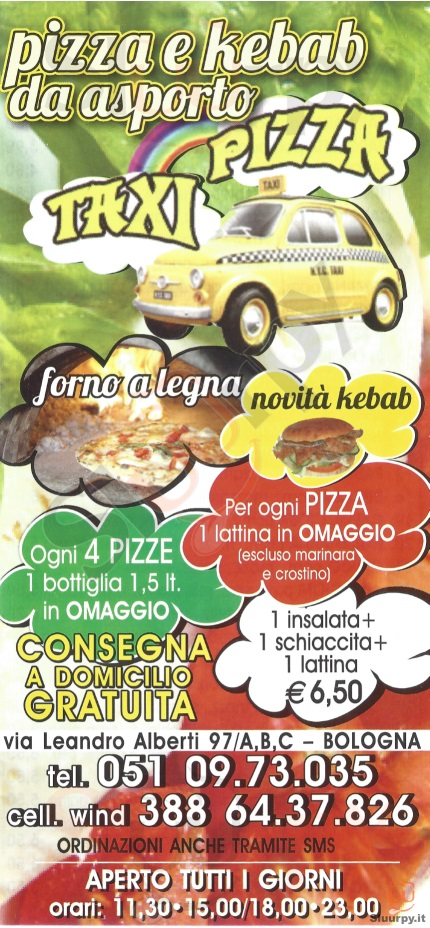 PIZZA TAXI Bologna menù 1 pagina