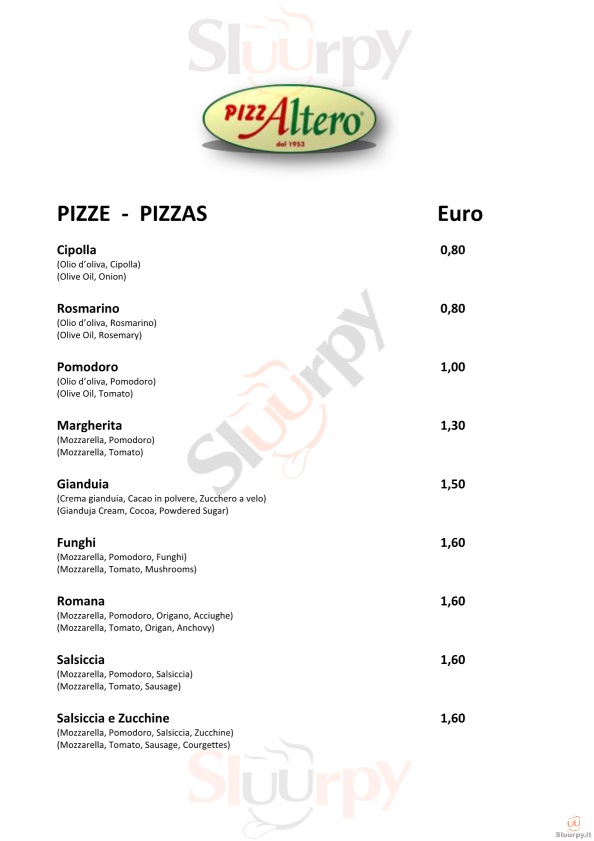 PIZZALTERO - Forlì Forlì menù 1 pagina