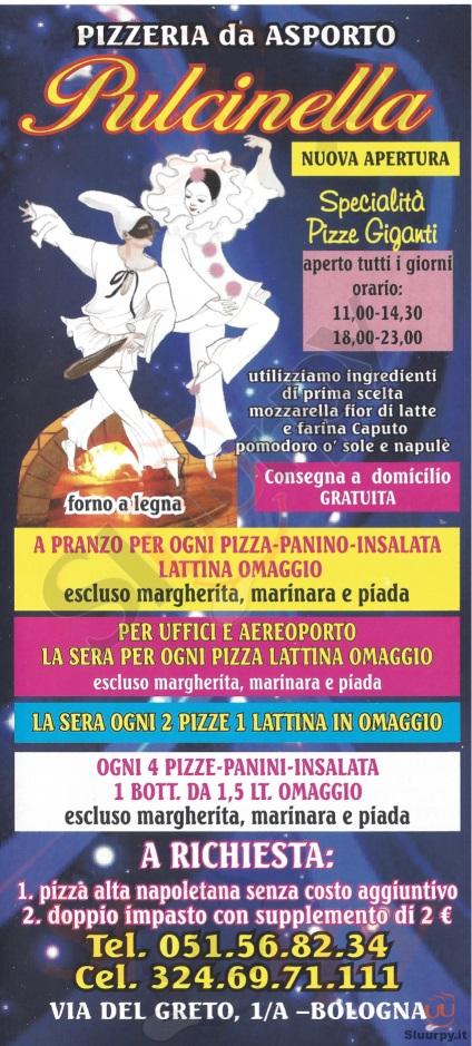 PULCINELLA Bologna menù 1 pagina