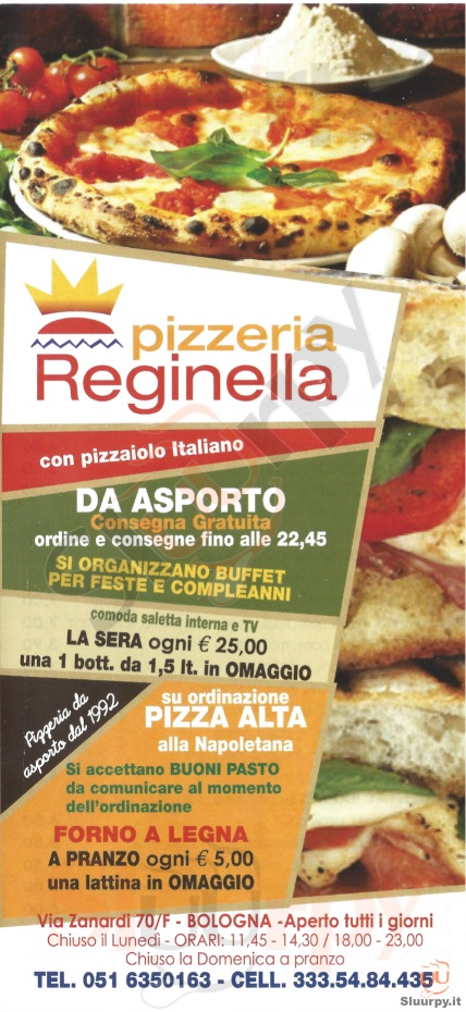 Reginella Bologna menù 1 pagina